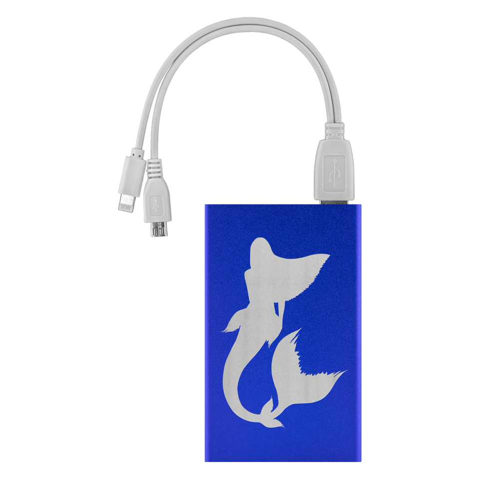 blue power bank with mermaid