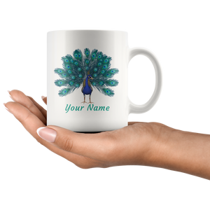 Peacock Personalized Ceramic Coffee Mug