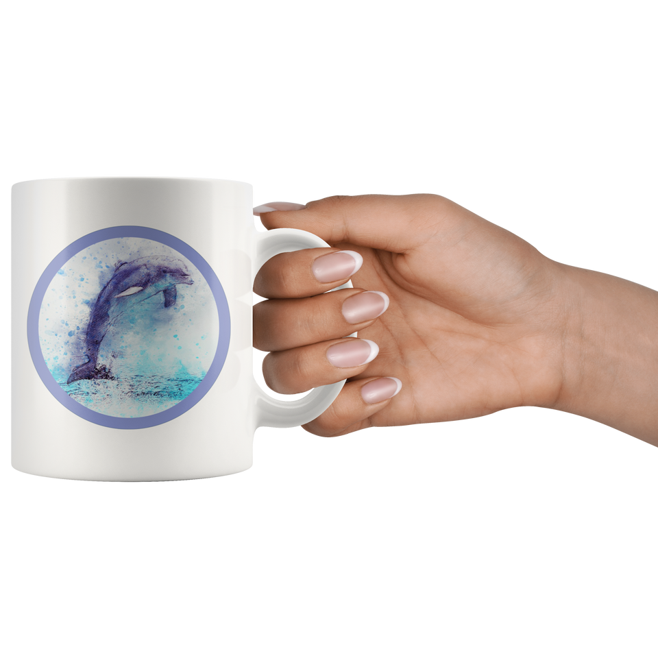dolphin mug aquarelle purple