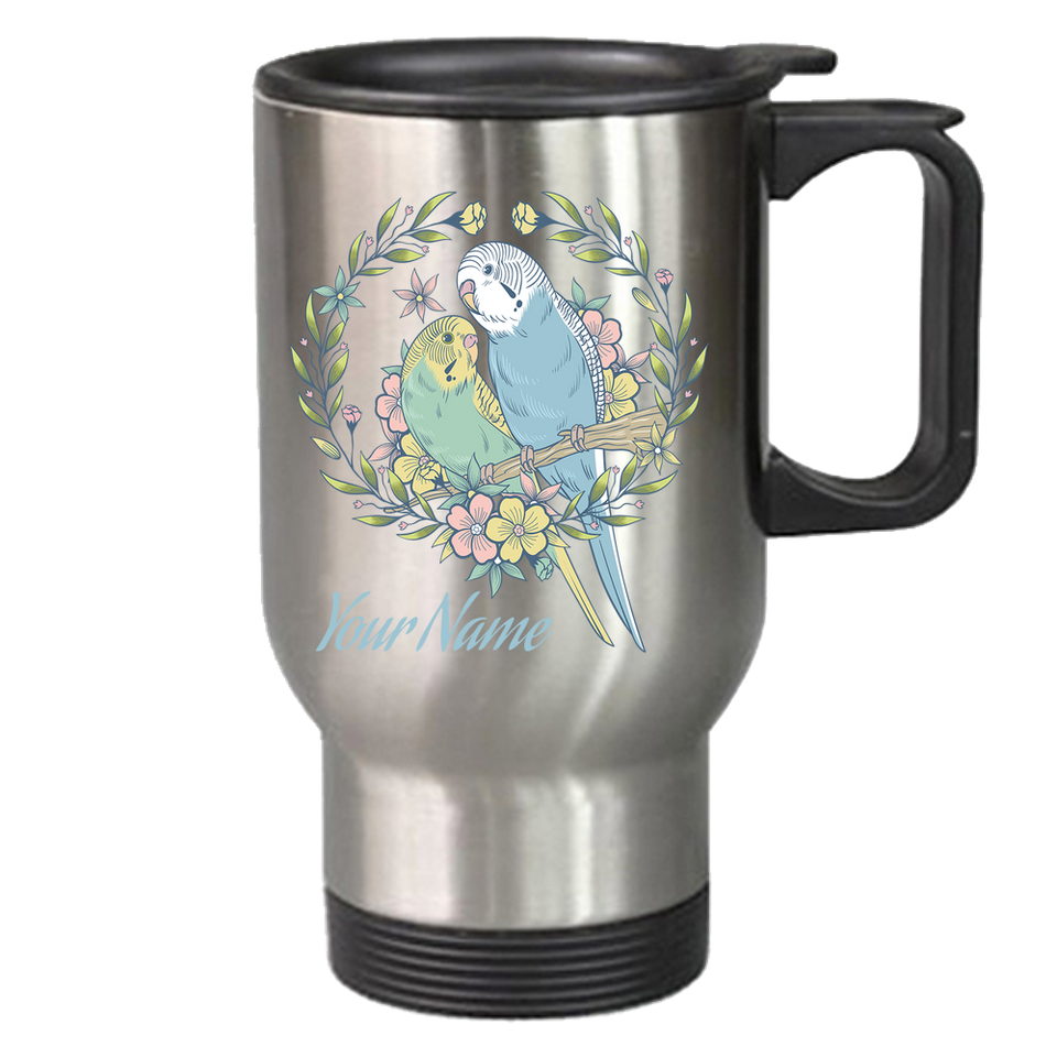 budgie travel mug stainless steal