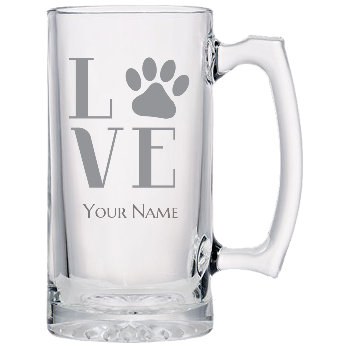 beer glass engraved wolf paws algarve online shop