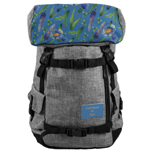 Blue Flowers Name Backpack TL