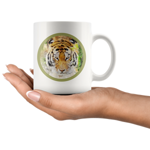 Tiger Mug White Painting