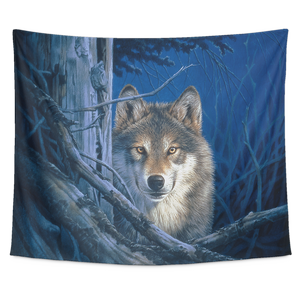 large tapestry wolf- Moonshine