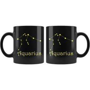 Zodiac Aquarius Ceramic Black Coffee Mug