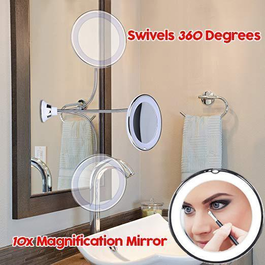 10X Magnifying Magic Makeup Mirror - 360 Degree Rotation