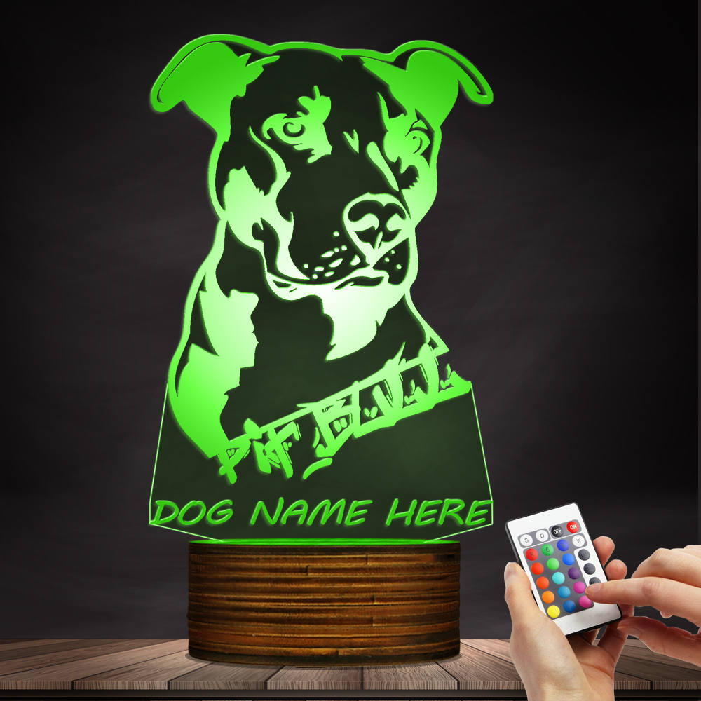 Custom Pitbull 3D LED LAMP - Customized Name