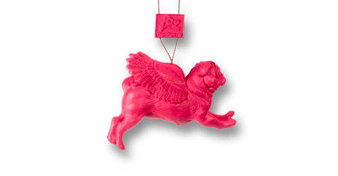 Pugs might fly Baubles PinkFlying Hanging Pugs