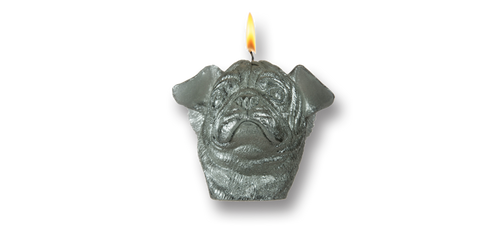 Pugs might fly Candles Silver Pug Candle