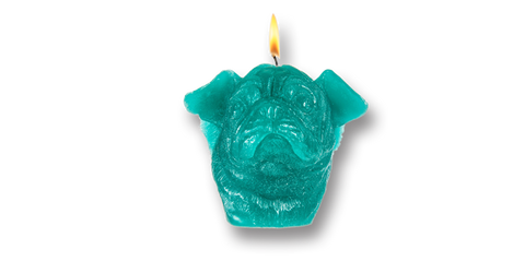 Pugs might fly Candles Turqoise Pug Candle