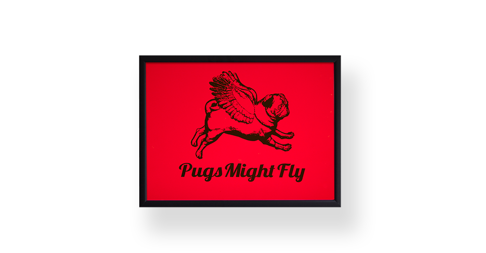 Pugs might fly Poster Red Poster Board