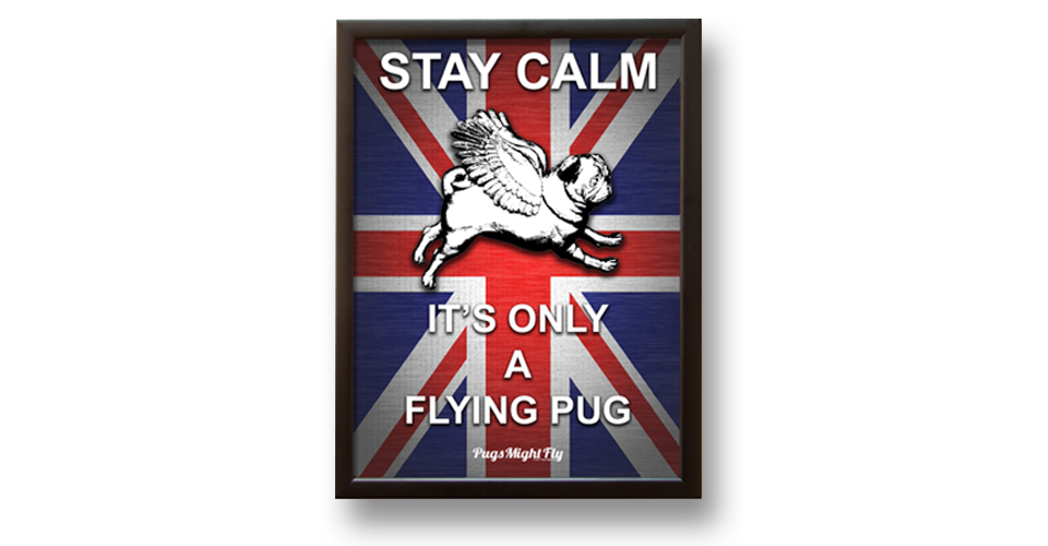Pugs might fly Wall Art Stay Calm Red