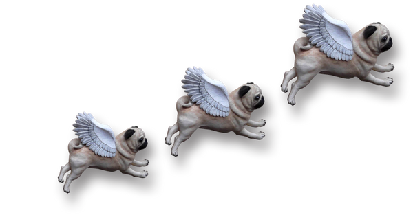 Pugs might fly Wall Hangings Set of 3 Hand Painted Pug Wall Hangings