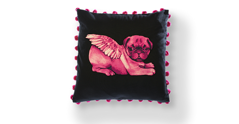 Pugs might fly White Biddy Pug on Black Cushion (Pompoms)