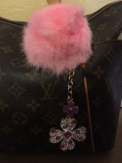 Purse Charm / Key Ring - Pink Diamond Clover and Pom