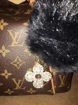 Purse Charm / Key Ring - Diamond Clover and Black Pom