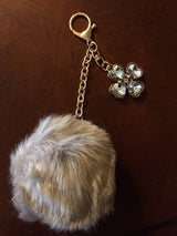 Purse Charm / Key Ring - Crystal Clover and Pom