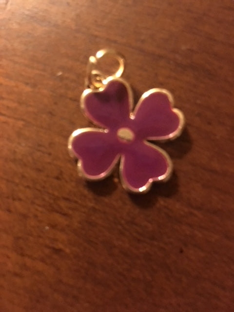 Purse Charm / Key Ring - Pink/Purple Mini Clover Charm Individual