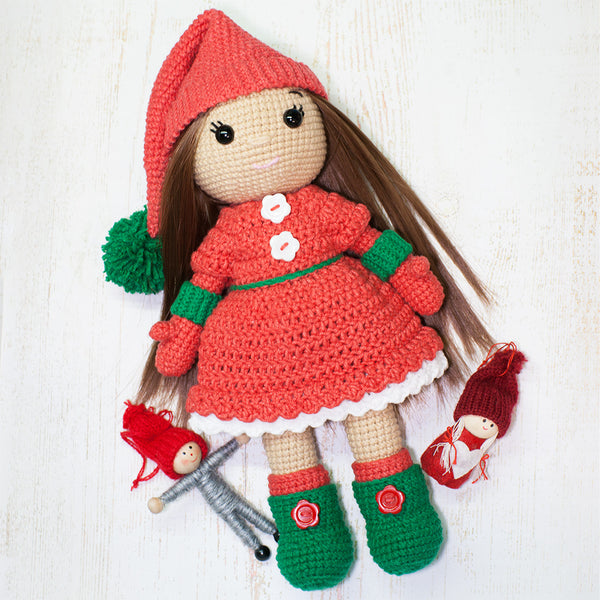 Christmas Doll crochet pattern - printable PDF