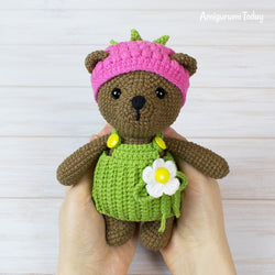 Raspberry Bear Crochet Pattern - printable PDF