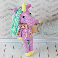 Shy unicorn amigurumi pattern - printable PDF