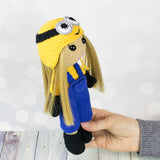 Crochet doll in Minion costume - printable PDF