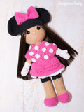 Crochet doll in Minnie Mouse costume - printable PDF