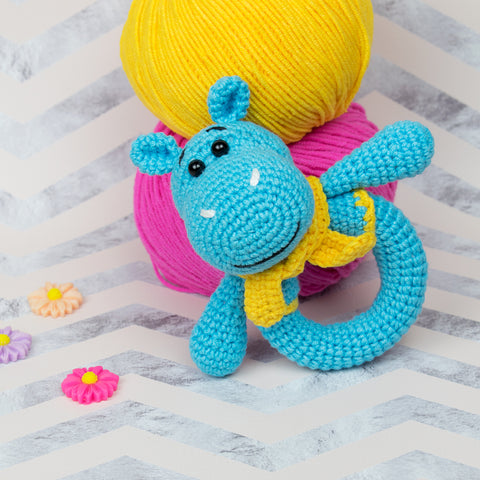 Hippo baby rattle crochet pattern - printable PDF