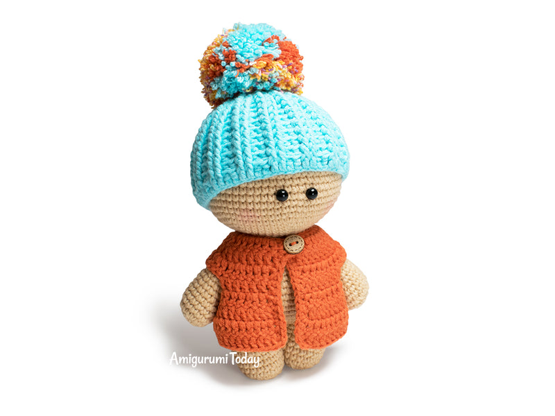 Amigurumi doll in beanie hat crochet pattern - printable PDF