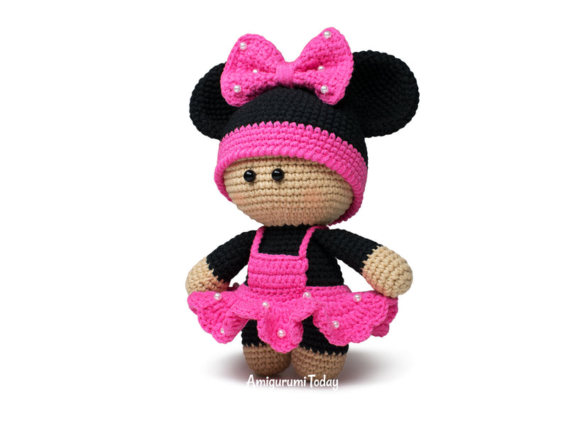 Amigurumi doll in mouse outfit pattern - printable PDF
