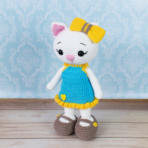 Cat doll in sundress crochet pattern - printable PDF