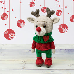 Christmas deer amigurumi pattern - printable PDF