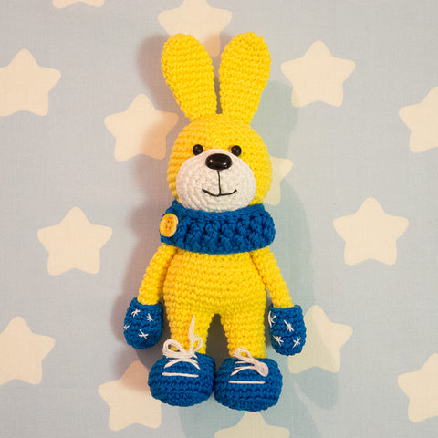 Crochet bunny with snood and mittens - printable PDF