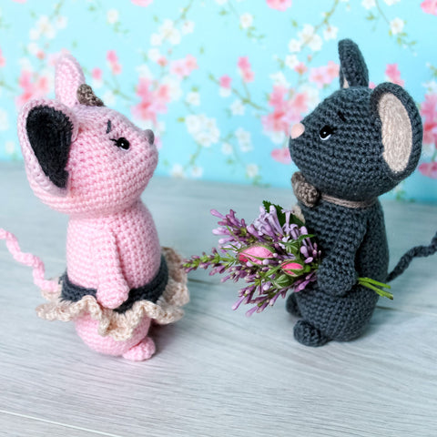 Crochet mouse couple pattern - printable PDF