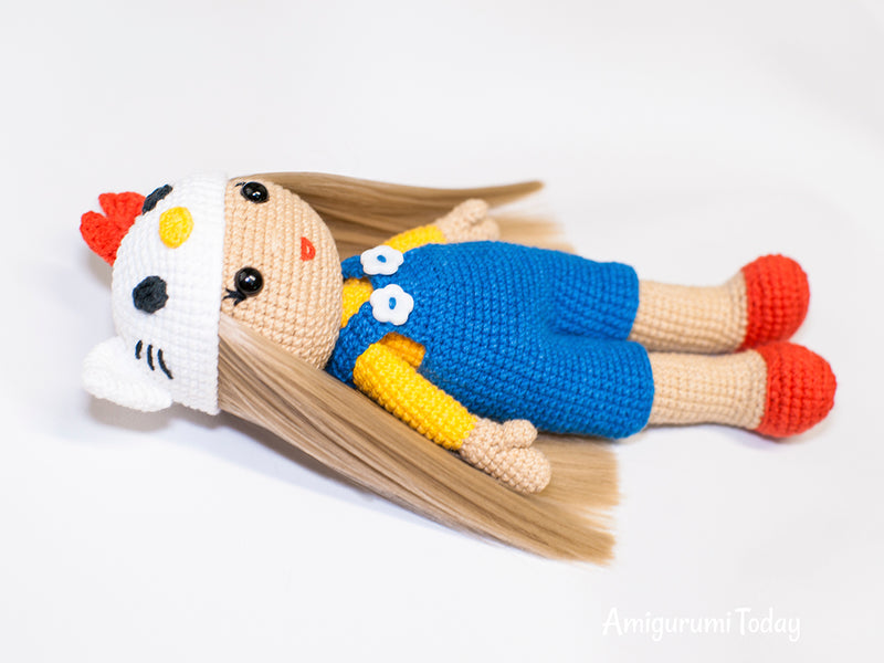 Crochet doll in Hello Kitty costume - printable PDF