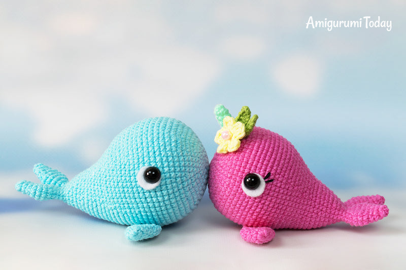 Blue Whale and Narwhal amigurumi patterns - printable PDF