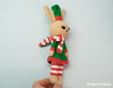 Christmas Bunny crochet pattern - printable PDF