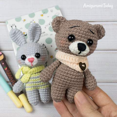 Tiny crochet bear and bunny - printable PDF