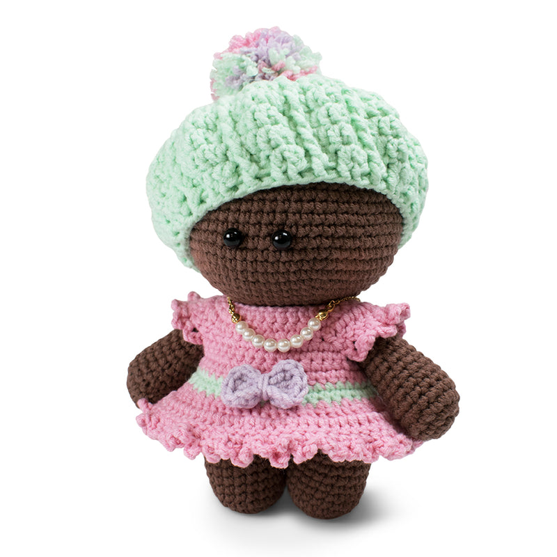 Amigurumi doll in beret crochet pattern - printable PDF