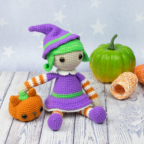 Halloween witch amigurumi pattern - printable PDF