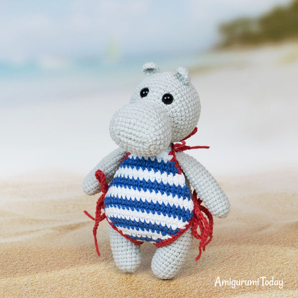 Hippo in swimsuit crochet pattern - printable PDF