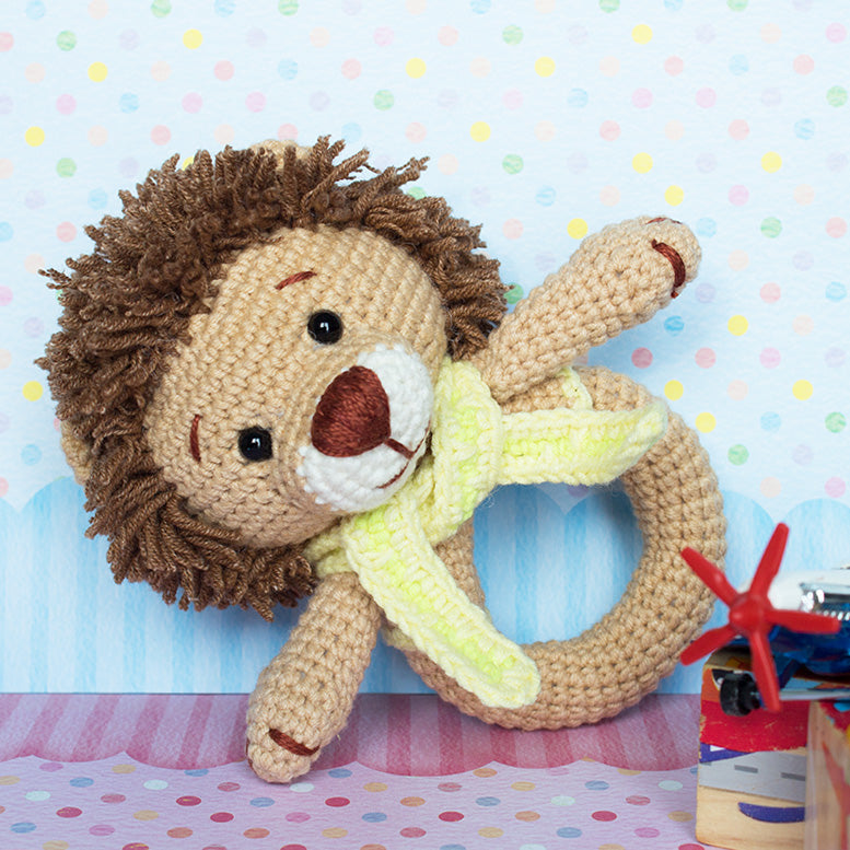 Lion baby rattle crochet pattern - printable PDF