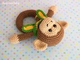 Monkey baby rattle crochet pattern - printable PDF