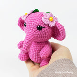 Pink crochet elephant pattern - printable PDF
