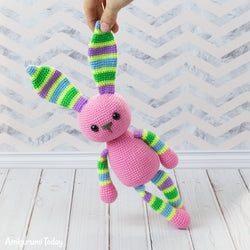Stripy rabbit amigurumi pattern - printable PDF