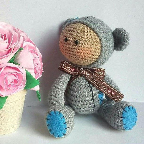 Amigurumi baby dolls in animal costumes - printable PDF