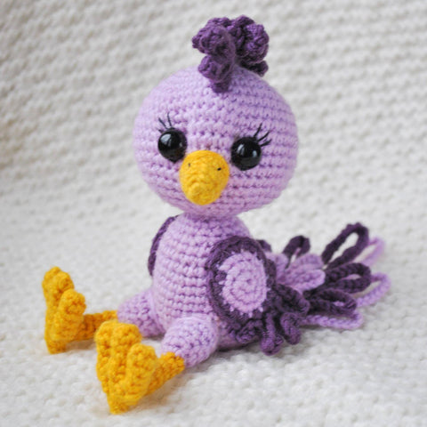 Crochet purple bird amigurumi pattern - printable PDF