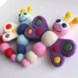 Butterfly baby rattle crochet pattern - printable PDF