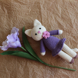 Amigurumi kitty in lilac dress pattern - printable PDF