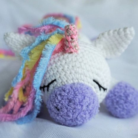 Sleeping unicorn pony crochet pattern - printable PDF